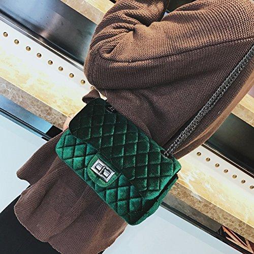 Weibliche Plaid Trendy Schultertasche Allgleiches Trend Umhängetasche Mode Schnalle Trend Kleine Quadratische Paket , Grün