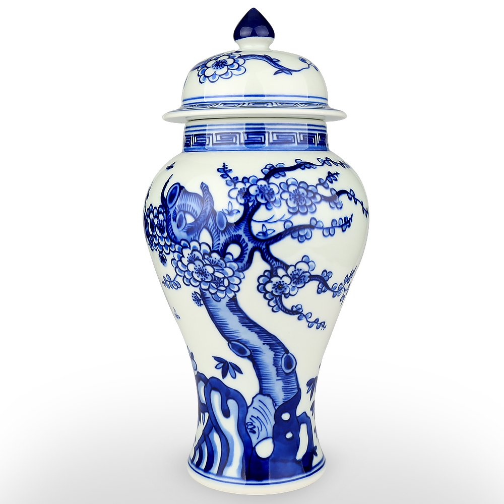 XUZOU Blue and White Porcelain Ceramic Temple Jar Vase,Oriental Handpainted Chinese Ginger Jar from Jingdezhen - 11.34 inch Tall by XUZOU