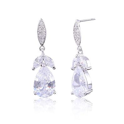 8c609e2756dcf CZ Bridal Earrings for Wedding Women's Elegant Teardrop Cubic Zirconia  Cluster Floral Leaf Crystal Rhinestone Dangle Drop Earring for Bride ...