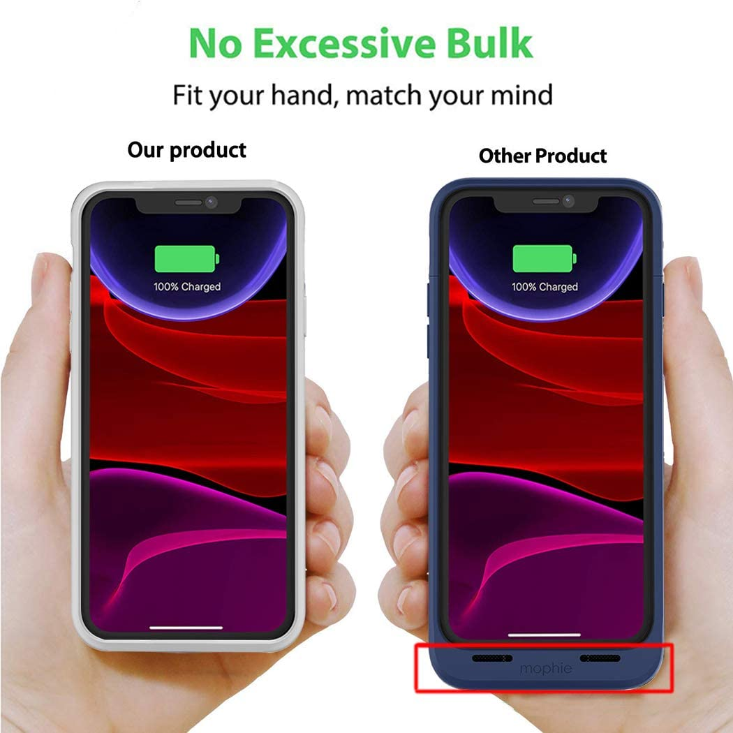 6.1 inch Extended Battery Charger Case Battery Case for iPhone 11 Blue 6000mAh Portable Rechargeable Battery Pack Charging Case Compatible with iPhone 11
