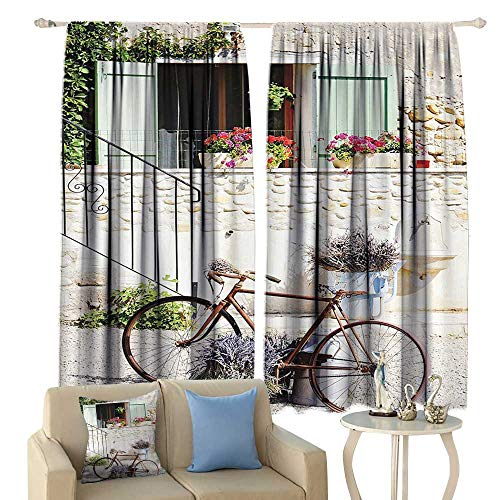 (cobeDecor Bicycle Blackout Curtains European French Mediterranean Rural Stone House with Bike Countryside Provence Day Photo Home Garden Bedroom Outdoor Indoor Wall Decorations )