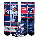 For Bare Feet New England Patriots Youth Size NFL Rush Crew Kids Socks (4-8 YRS) 1 Pair - Tom Brady