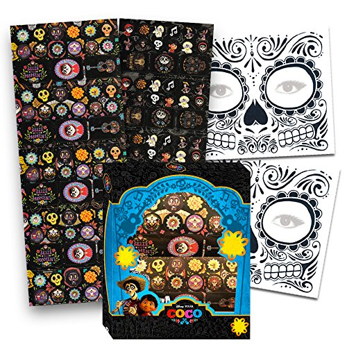 Box Favor Stickers (Disney Pixar COCO Stickers Party Favors Set -- Box of 225 Coco Stickers and 2 Day of the Dead Face Tattoos (Coco Party Supplies))