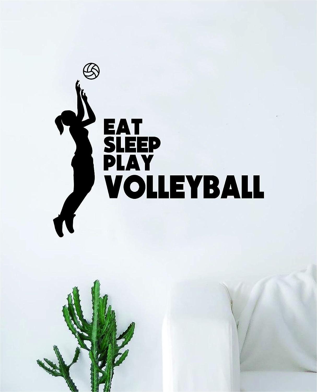 Eat Sleep Play Volleyball Wall Decal Sticker Bedroom Home Room Art Vinyl Inspirational Decor Teen Motivational Boy Girl Sports Beach Summer Net Spike Volley Ball