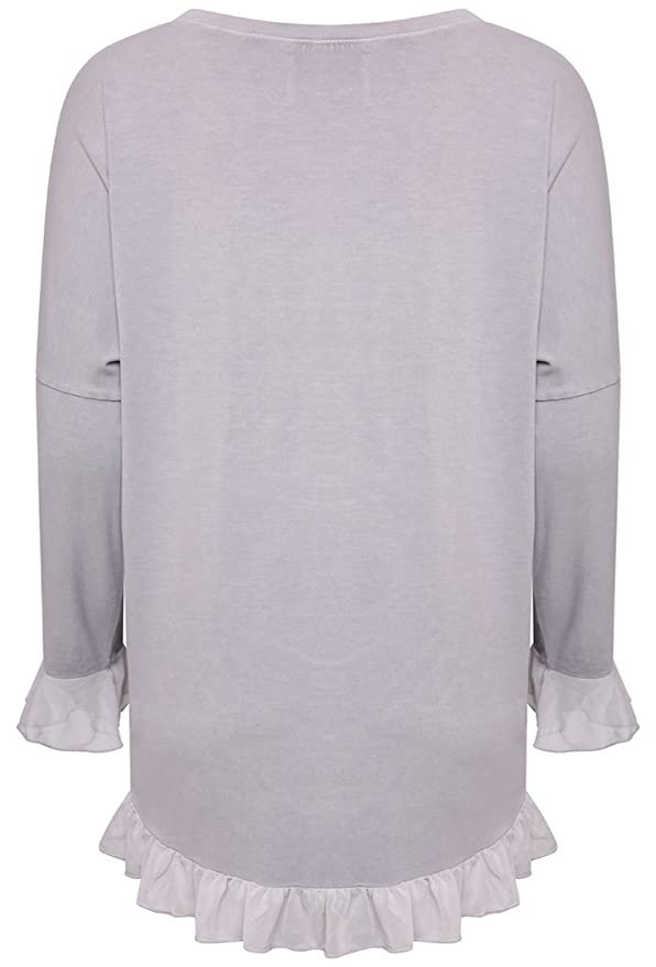 A Postcard From Brighton Women's Kylie Dipped Back Karma Gathered Chiffon  Top (M/L (UK 12-16), Dim Grey): Amazon.co.uk: Clothing