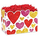 Small Glittering Hearts Basket Boxes - 6.75 x 4 x 5in. - 36 Pack