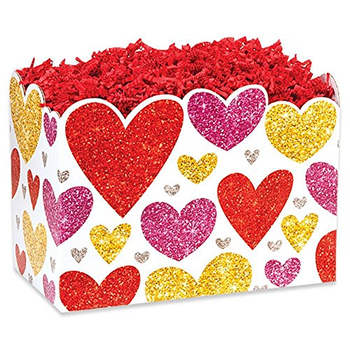 Small Glittering Hearts Basket Boxes - 6.75 x 4 x 5in. - 36 Pack by NW