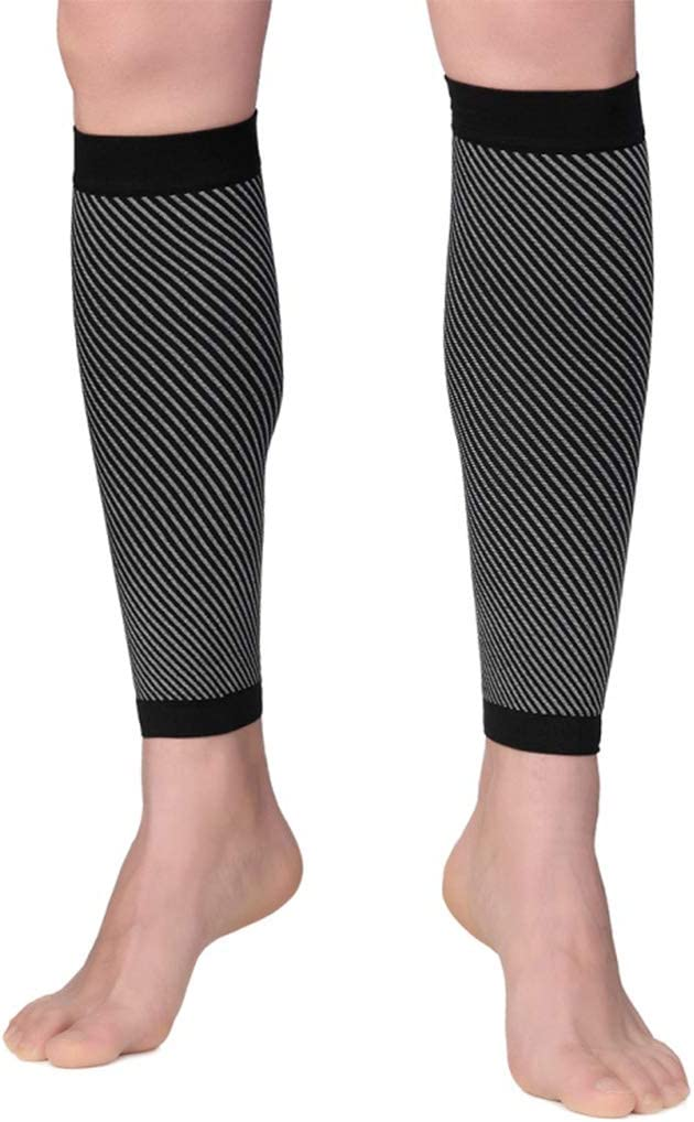 S Rtengtunn Hommes Femmes Sport Veau Compression Manches Toeless Leg Support Brace Stripes Chaussettes Blanc