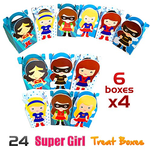 Superhero Themed Parties - Super Hero Girl Party Favor Treat Boxes, 24pcs Assorted Birthday Party Goodie Boxes
