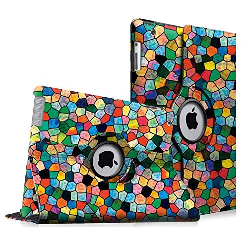 Fintie Apple iPad 2/3/4 Case - 360 Degree Rotating Stand Smart Case Cover for iPad with Retina Display (iPad 4th Generation), the new iPad 3 & iPad 2 (Automatic Wake/Sleep Feature) - Mosaic