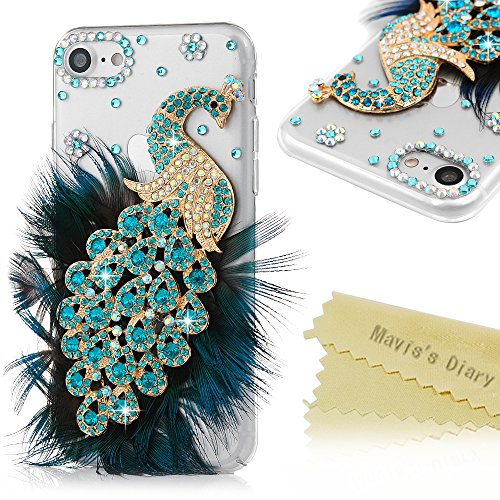 iPhone 7 Case (4.7 inch) - Mavis's Diary 3D Handmade Bling Luxury Peacock Fashion Feather Shiny Blue Diamond Sparkle Crystal Rhinestone Full Around Protective Clear Hard Cover