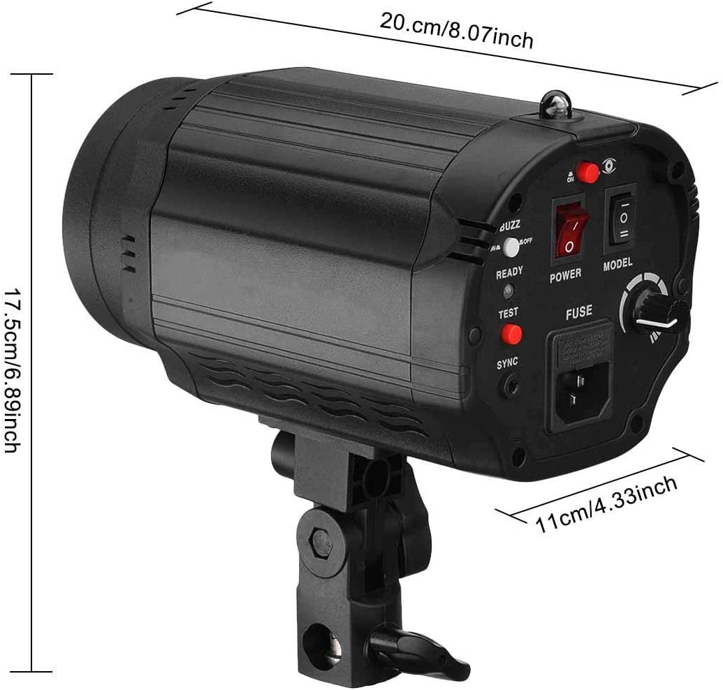 Xinwoer Camera Flash Speedlite 250W 5500K GN55 Photography Studio Flash Light 50W Slave Bulb,Support Synchronous Cable,Sensor,Test Button,Remote Control Multiple Trigger Modes 1