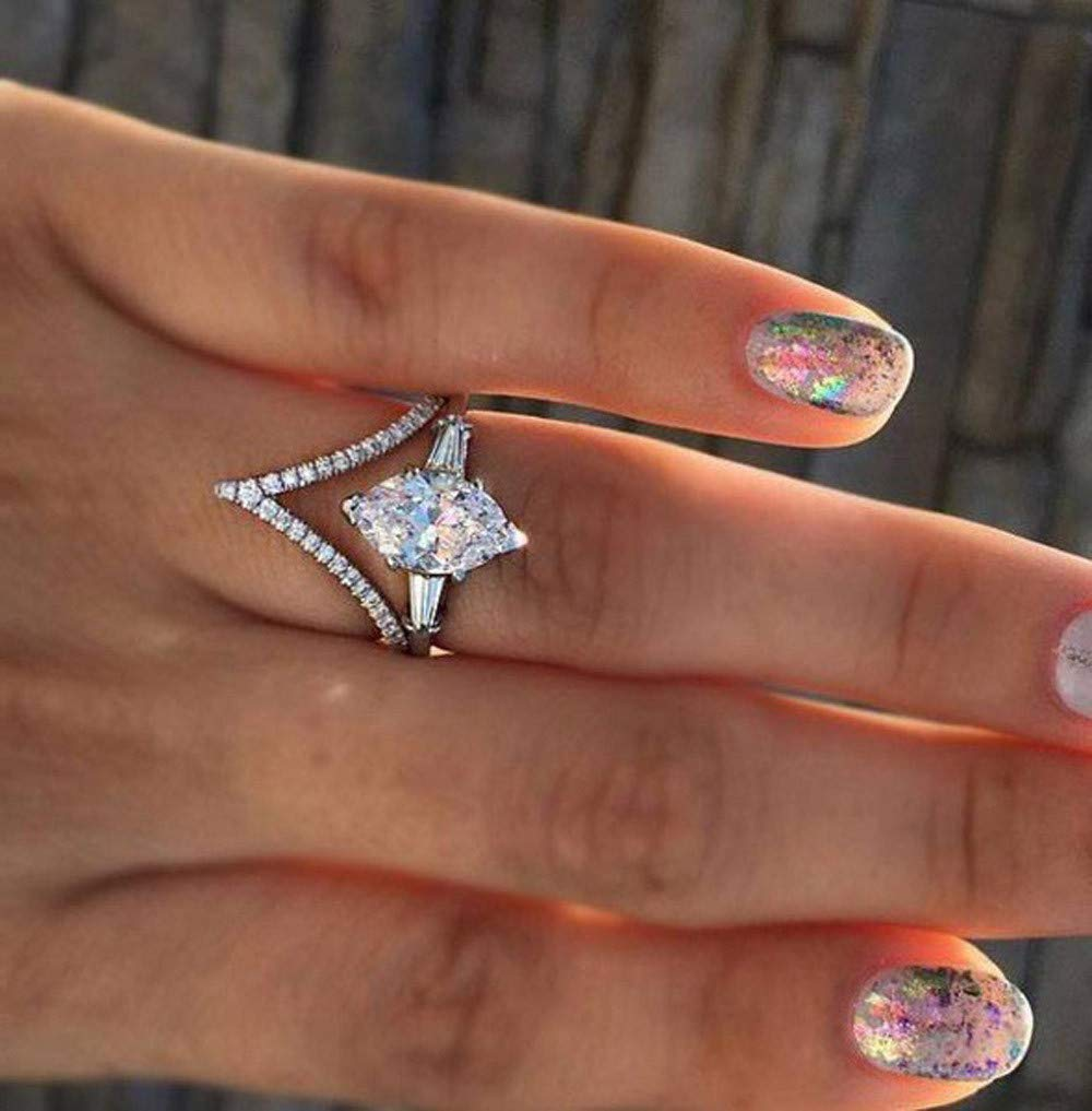 Women Simulated Diamond Bohemian Crystal Joint Knuckle Nail Ring Set Finger Rings Punk Ring by NIKAIRALEY Jewelry (Image #3)