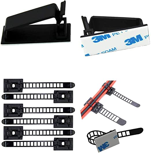 30× Adhesive Car Wire Cable Ties Mini Stick Fixed Clips Clamps Organisers