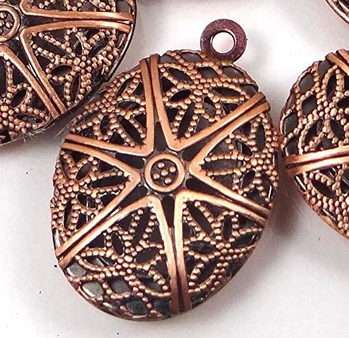 (5 Pendants) 24x16mm Antiuque Copper Filigree Hollow Locket Oval Pendants