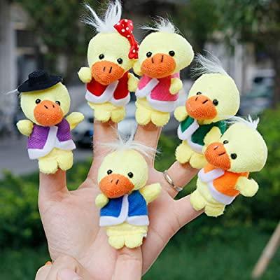 Alician Funtoy for 6Pcs/Set Cute Cartoon Plush Duck Finger Puppets Storytelling Toys Props: Toys & Games