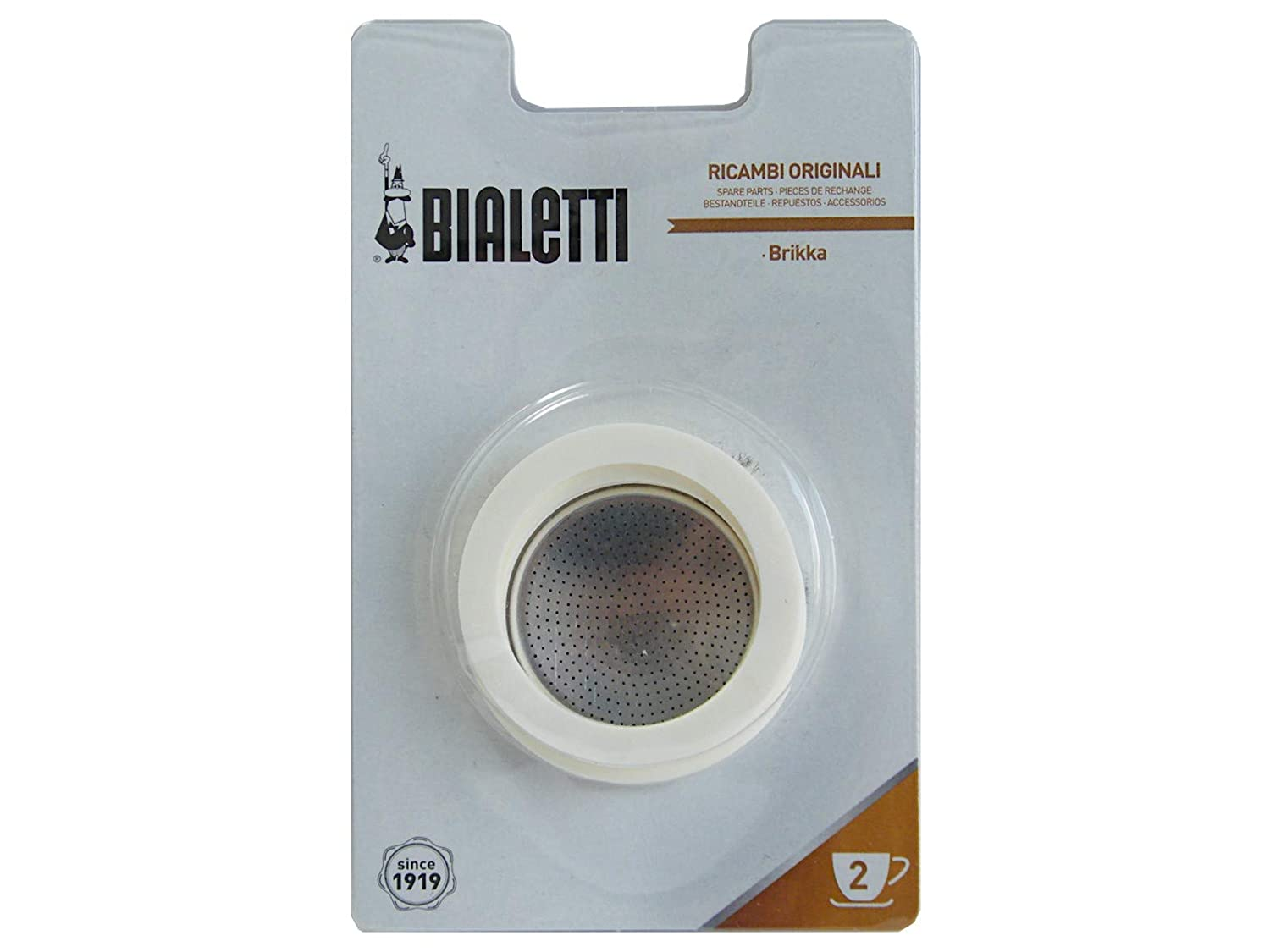 Bialetti - Brikka 2 Cup 3 Gaskets, Filter Plate Blister 0800013