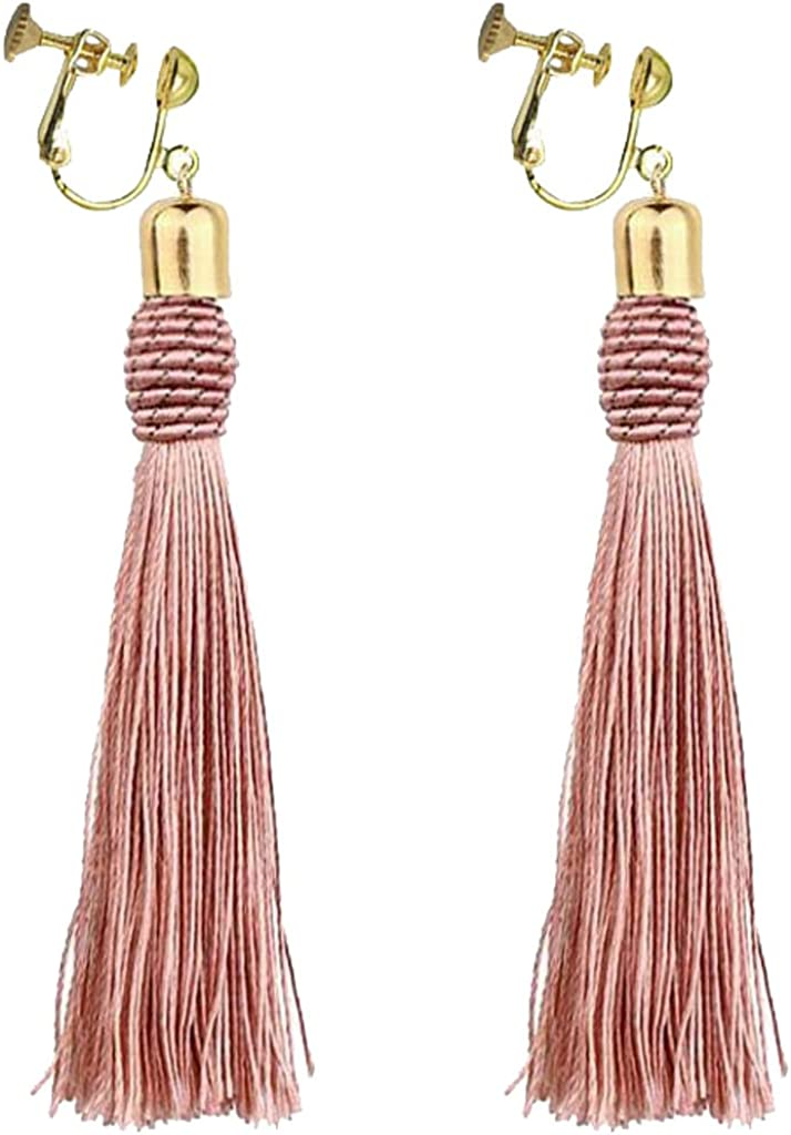Bohemia Boho Long Tassels Dangle Clip on Treadrop Earrings Girls Thread No piercing Red