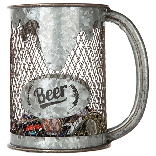 Lily's Home Rustic Tabletop Beer Cap Collector Storage Container, Shaped Like a Beer Pitcher, Ideal Gift for Beer Loves, Galvanized Metal (9