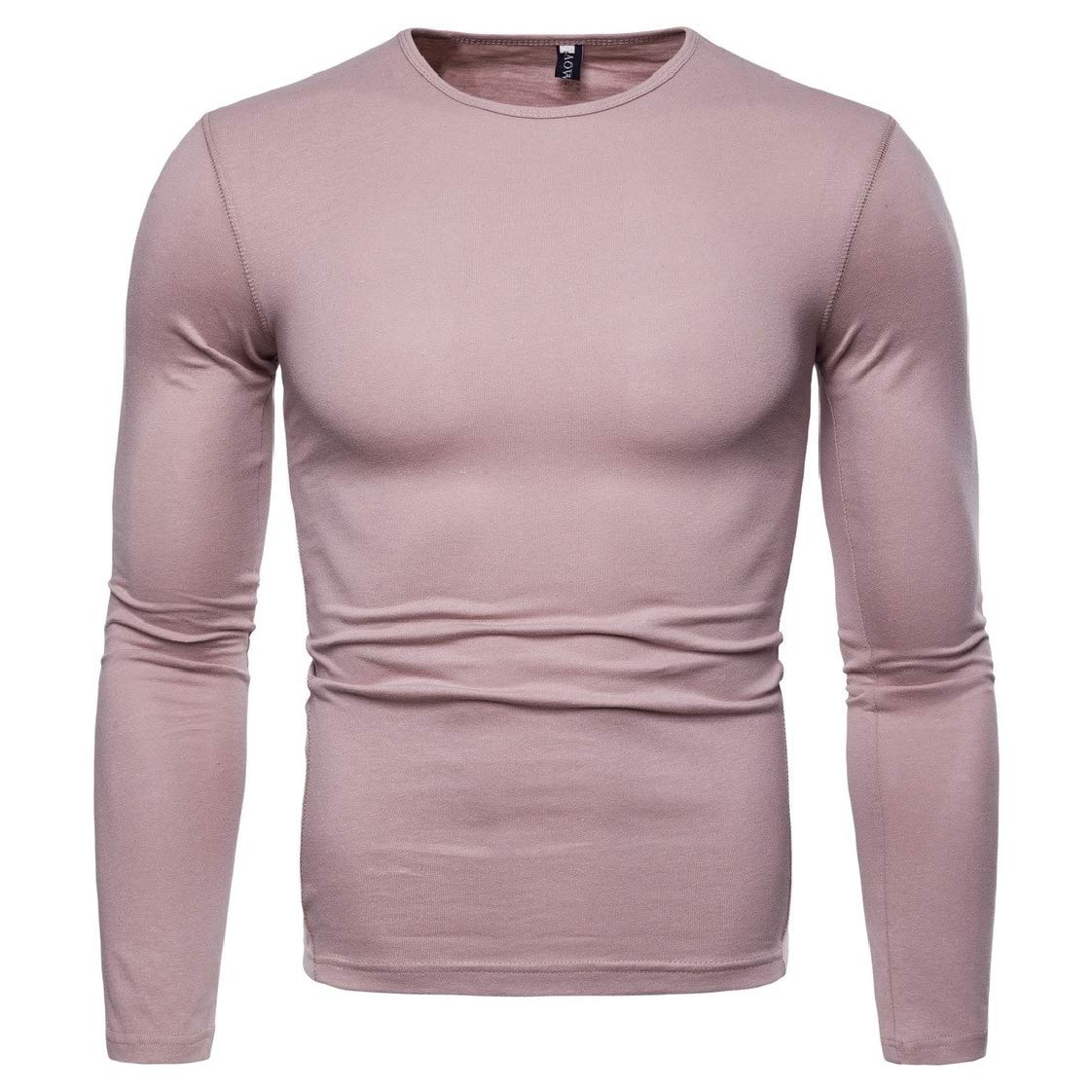 YUNY Mens Chic Soft Solid Colored Pullover Long Sleeve Spring//Fall T-Shirt Top AS2 M