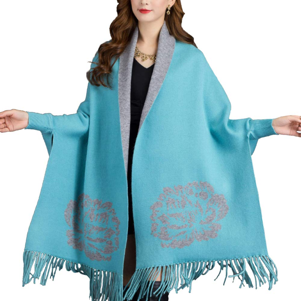 bluee LIULIFE Cape Poncho Spring Autumn Ladies Knit Cloak Fringe Shawl Scarf Dualuse with Sleeves Fashion Coat