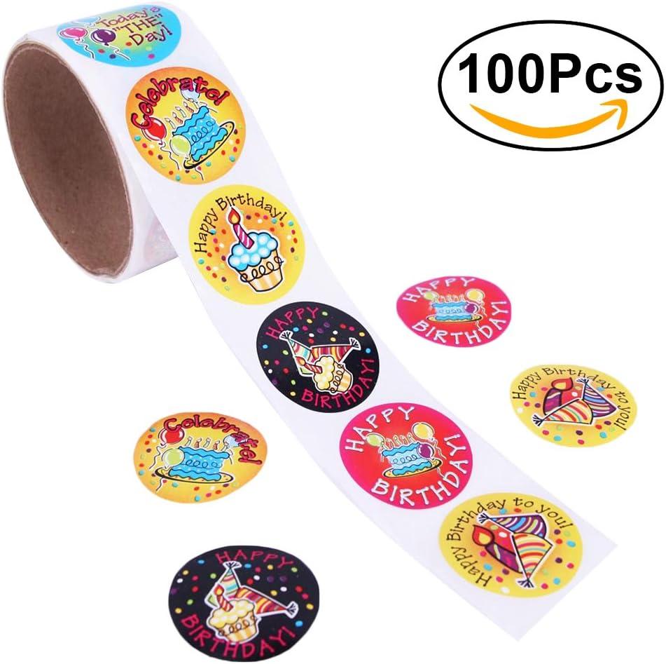 NUOLUX Etiquetas engomadas coloridas del cumpleaños Pegatina para el regalo de la recompensa creativa de los favores de partido de los niños size 100 Stickers