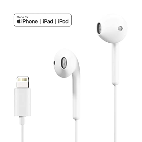 00269b23cb6 Lightning Headphones Earphones Earbuds with Microphone and Remote Control,  MFi-Certified, Compatible with