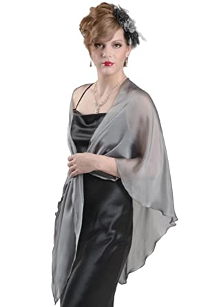 TRIANGULAR SHAWL for Wedding Evening Dress. Silver Grey 100% Silk Chiffon  Wrap by Lena