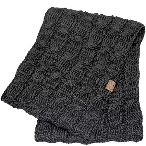 Hatsandscarf CC Exclusives [11% DISCOUNT for SET] Oversized Slouchy Pom Beanie/Scarf/Glove 3 Set (HAT-6242P-3SET) (Black/Grey Set)