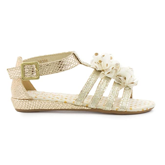 c8c68df5a069 Walkright Girls Strappy Wedge Sandal in Gold - Size 4 UK - Multicolour   Amazon.co.uk  Shoes   Bags