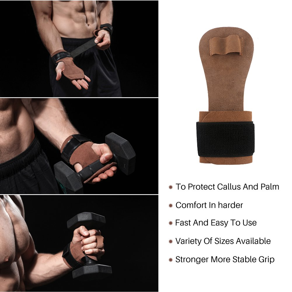 Weightlifting Gymnastics Hand Grips 1 Hole Series Pull Up Grips with Wrist Support Palm Chin Ups Gloves for Cross fit Workouts Kettlebells Men Women Leather Cross Grips Barbells Powerlifting