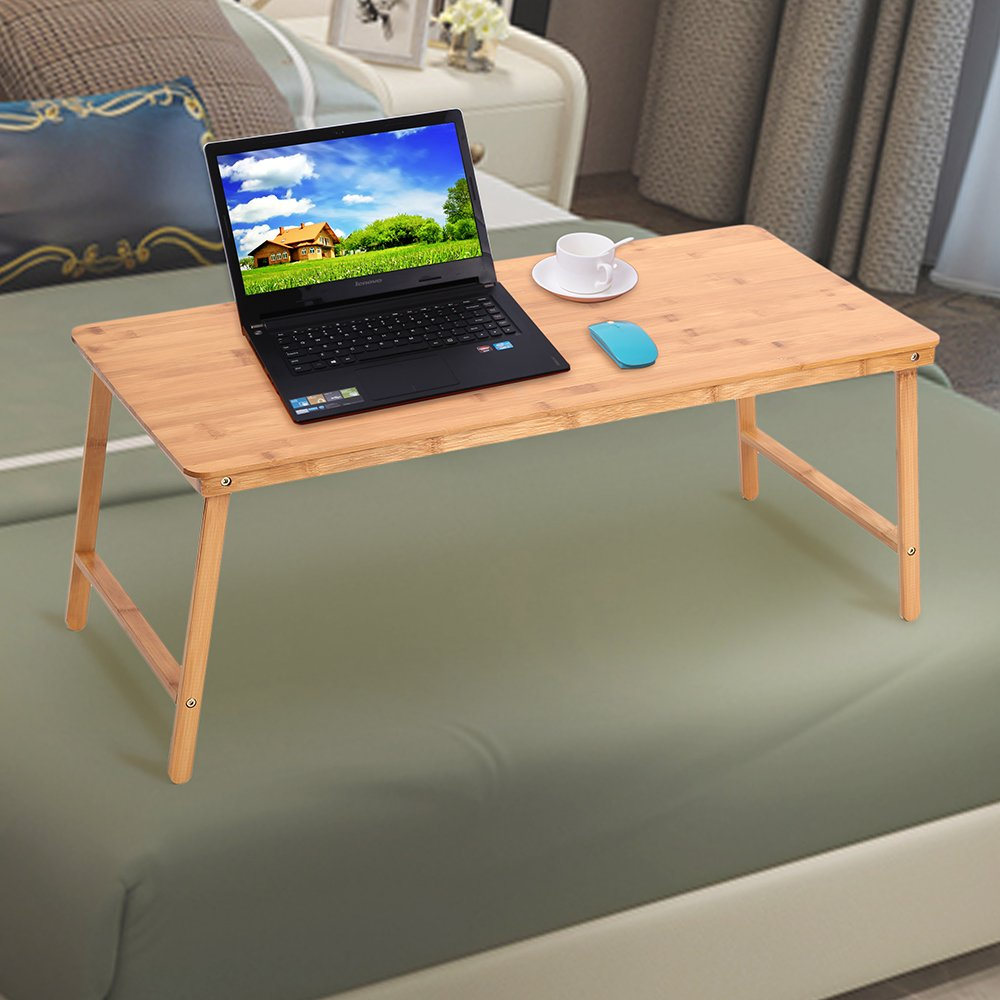 Folding laptop table stand for bed portable lap desk breakfast tray for sofa couch floor