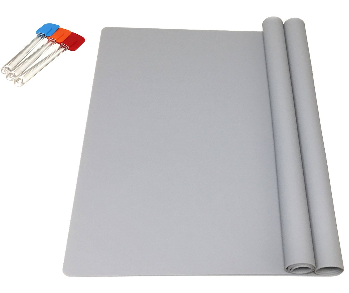EPHome 2Pack Extra Large Multipurpose Silicone Nonstick Pastry Mat, Heat Resistant Nonskid Table Mat, Countertop Protector, 23.6''15.75'' (Gray)