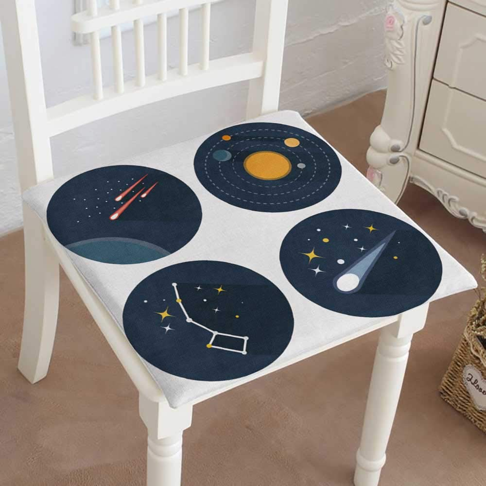 Mikihome Classic Decorative Chair pad Seat Space Stars Constellations Galaxies and Comets Solar System Vector Flat Cushion with Memory Filling 26''x26''x2pcs