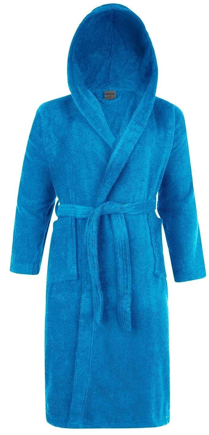 Mens & Ladies 100% Cotton Terry Towelling Hooded Shawl Collar Bathrobe Dressing Gown Bath Robe (Aqua) Adore Home
