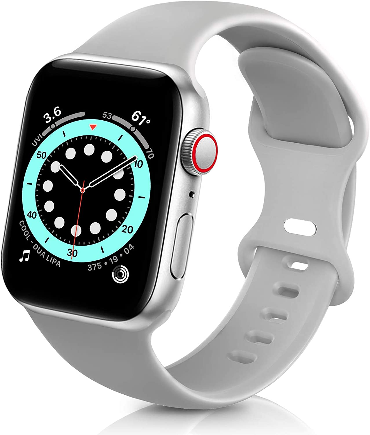 ZALAVER Bands Compatible with Apple Watch Band 38mm 40mm 42mm 44mm, Soft Silicone Sport Replacement Band Compatible with iWatch Series 6 5 4 3 2 1 Women Men Gray 38mm/40mm S/M