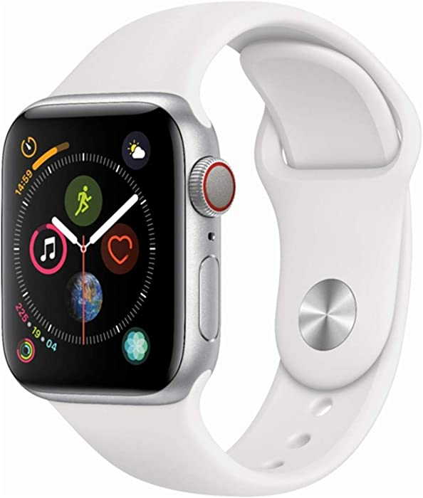 Apple Watch Series 4 (GPS + Cellular, 44MM) - Silver Aluminum Case with White Sport Band (Renewed)