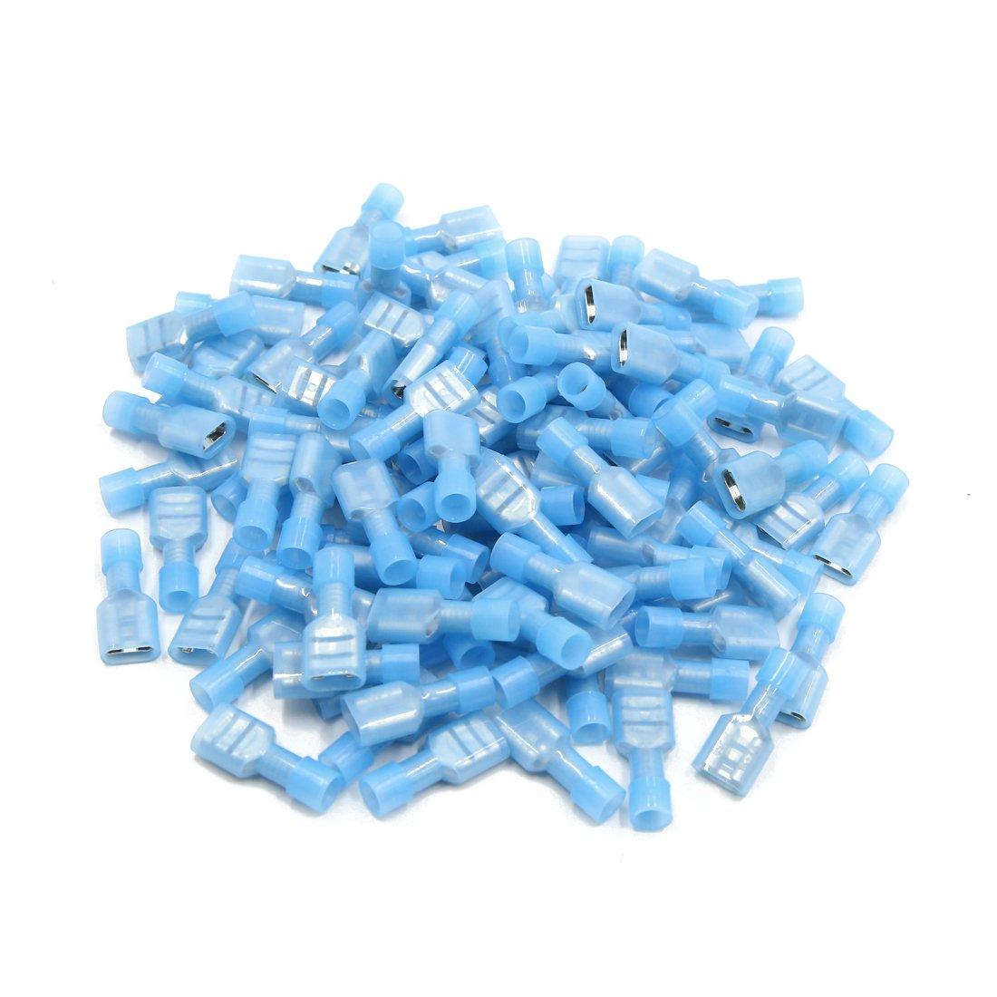 sourcing map 100pcs 6, 3 Nylon blu manicotto isolante per crimpatura terminali femmina connettori forcella