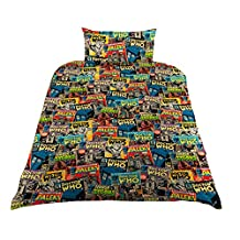 Dr Who Childrens/Kids Official Comic Print Duvet Bedding Set (Twin) (Multicolored)