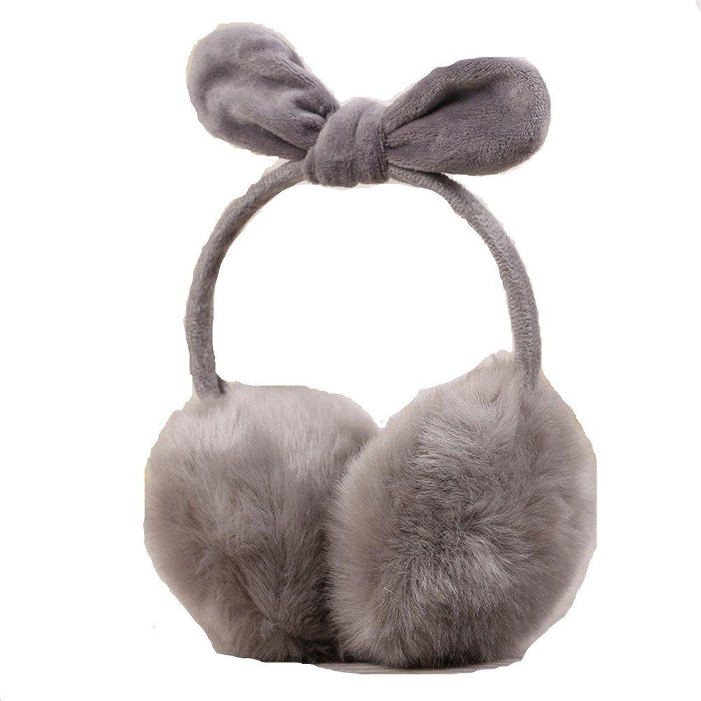 Kids Girls Winter Warm Faux Fur Plush Ear Warmers Earmuffs W//Fleece Bow