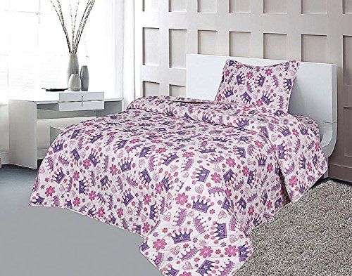 Sapphire Home 2pc Bedspread Quilt Bedding Set Twin Size for Kids Teens Girls, Princess Crown Hearts Bedding Theme Printed Style Bedspread, Pink Purple White Twin Bedspread + Pillow ()