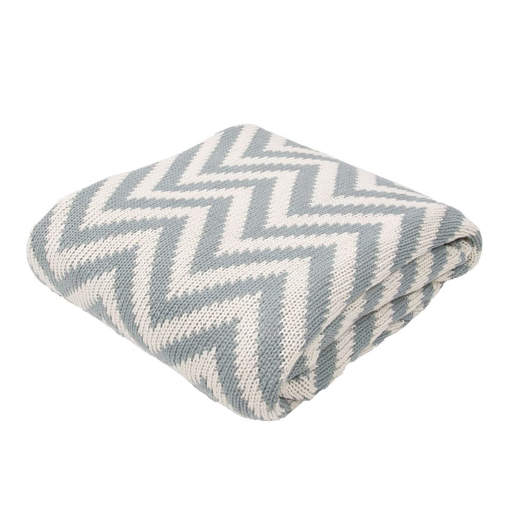 Ben and Jonah Soft Hand Chevron Pattern Cotton Throw Blanket (Blue Grey)