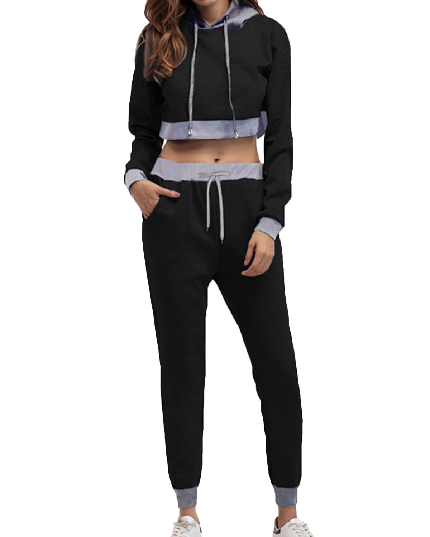 Auxo Women Tracksuit 2 Pieces Outfits Long Sleeve Hoodie Pullover Long Pants Sport Bodycon Sweatsuit Set Black US 4/Asian S