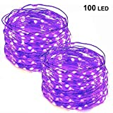 Twinkle Star 33FT 100 LED Copper Wire String Lights Fairy String Lights Battery Operated LED String Lights for Christmas Wedding Party Home Holiday Decoration, Purple, 2 Pack