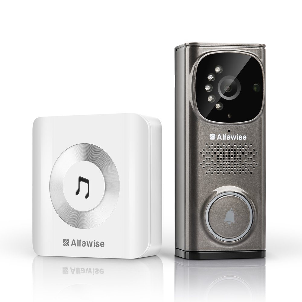 Alfawise WiFi Video Doorbell, Camera Doorbell with Night Vision, HD Video, PIR Motion WIFI Connection  Smart Home Hub for Cellphone Video
