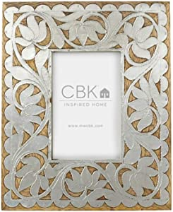 Diva At Home 4x6 Silver and Brown Floral Designed Wood Inlay Frame with Glossy Finish
