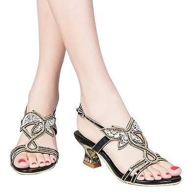 230e88604bc9 YooPrettyz Low Heel Evening Sandals Embellished Stud Butterfly Dress Party  Wedding Sandal Black 3