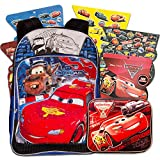 Disney Cars 3 Pc Backpack School Set for Boys Kids ~ Deluxe 16 Inch Molded Disney Cars Backpack with Lunch Box and Stickers (Disney Cars School Supplies)