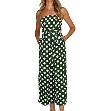 d67619d4ef01 HARRYSTORE Women Womens Sleeveless Polka Dot Print Bodycon Jumpsuits Wide  Leg Off Shoulder Pants Cotton Rompers with Belt: Amazon.co.uk: Clothing