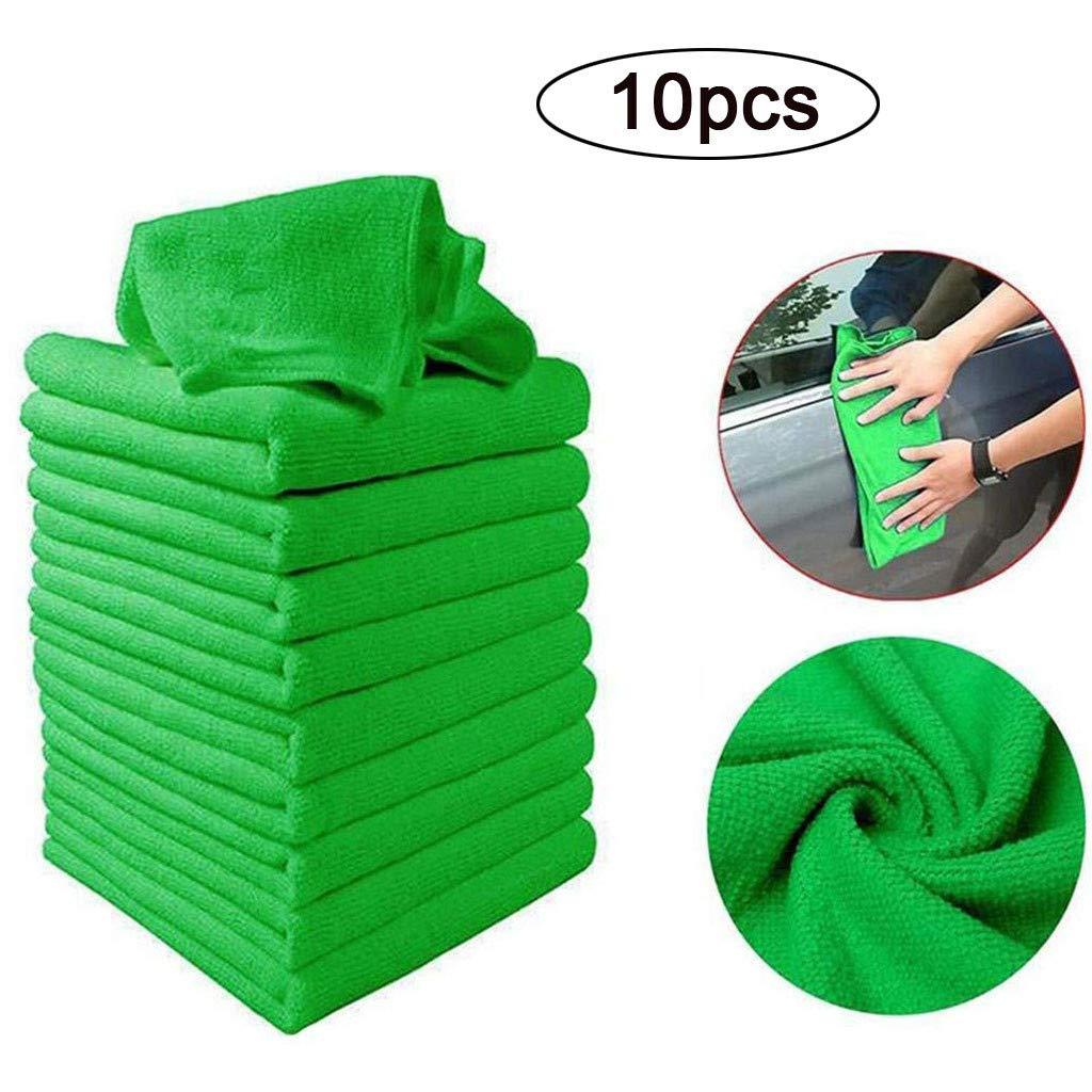 Funnydayrine Cuidado De Coche Weiches Handtuch Poliertuch Mikrofaser Für Autos Waschhandtuch Autopflege 10 Stück Grün Auto